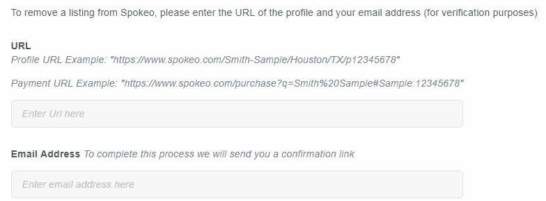 Screen shot of where to enter URL for profile removal on Spokeo