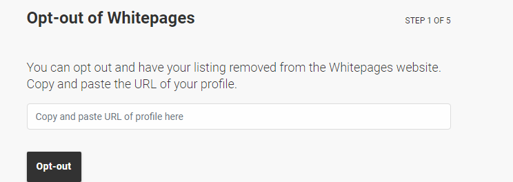 Screen shot of WhitePages opt-out button
