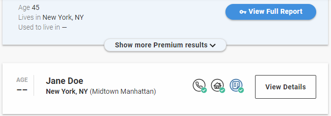 Screen shot of WhitePages premium results
