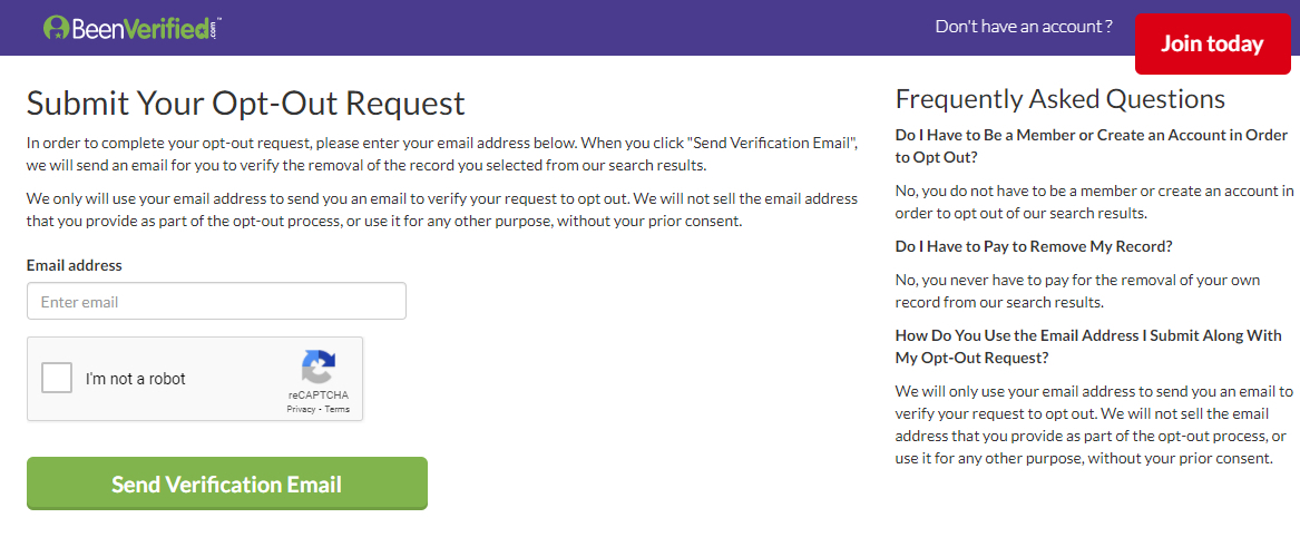 Screen shot of BeenVerified Opt Out email form.