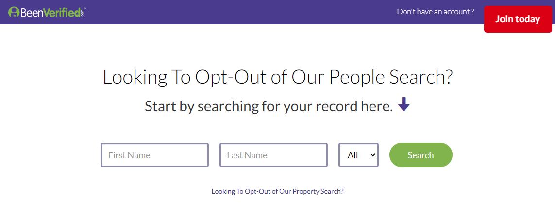 Screen shot of BeenVerified search bar.