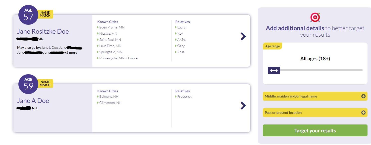 Screen shot of BeenVerified results.
