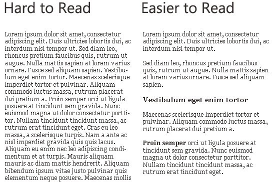 Example of good and bad formatting with Latin filler.