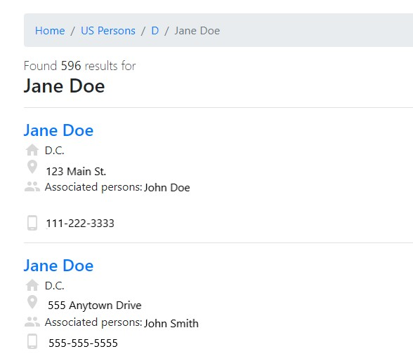 Screen shot of Clustrmaps search results for Jane Doe.