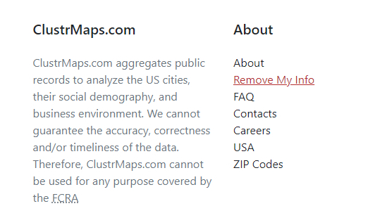 Screen shot of Clustrmaps home page with Remove My Info highlighted in red.