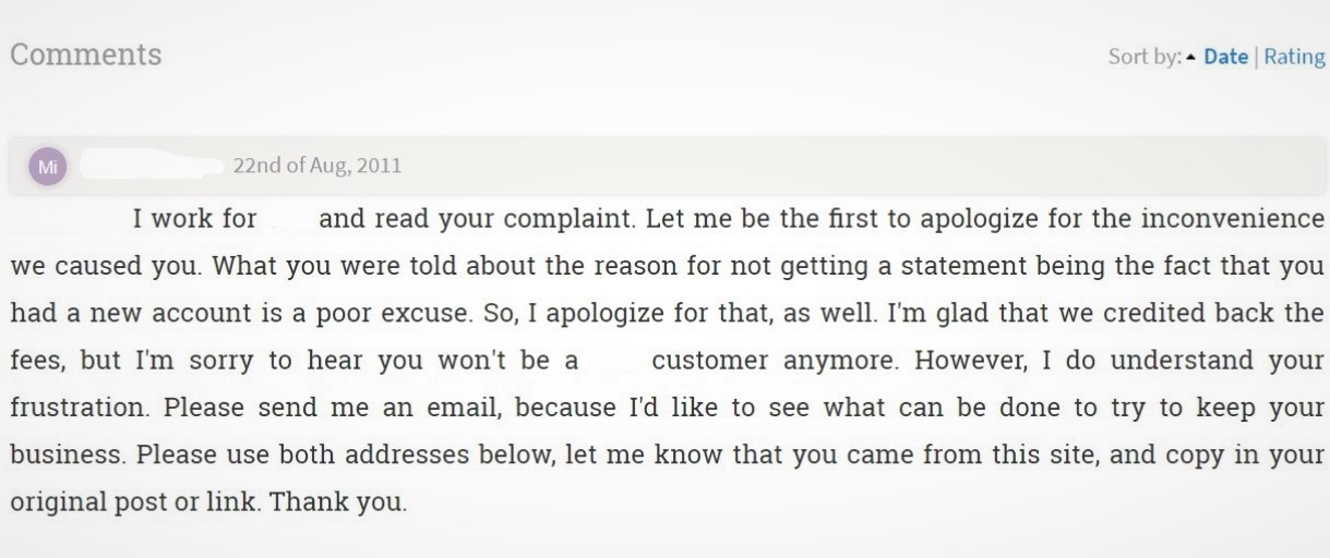 Screenshot of a company response to a bad review.