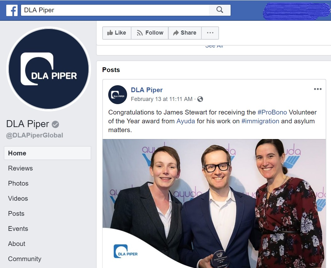 Screen shot of DLA Piper Facebook post.