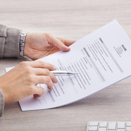resume being reviewed