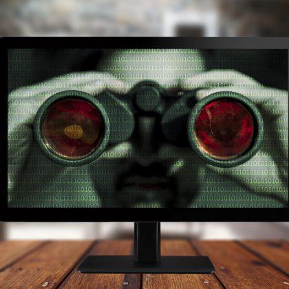 binoculars looking through screen