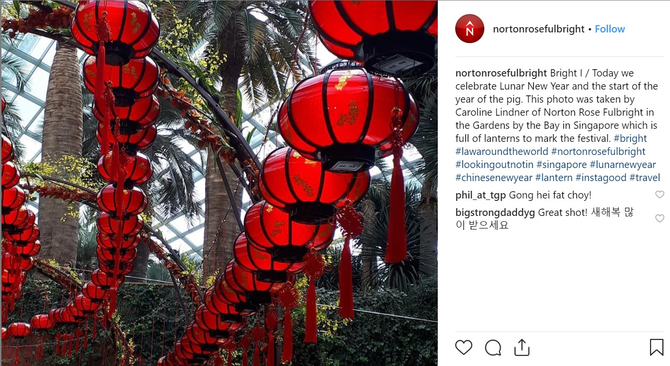 Norton Rose Fullbright's Instagram picture of hanging orange lanterns