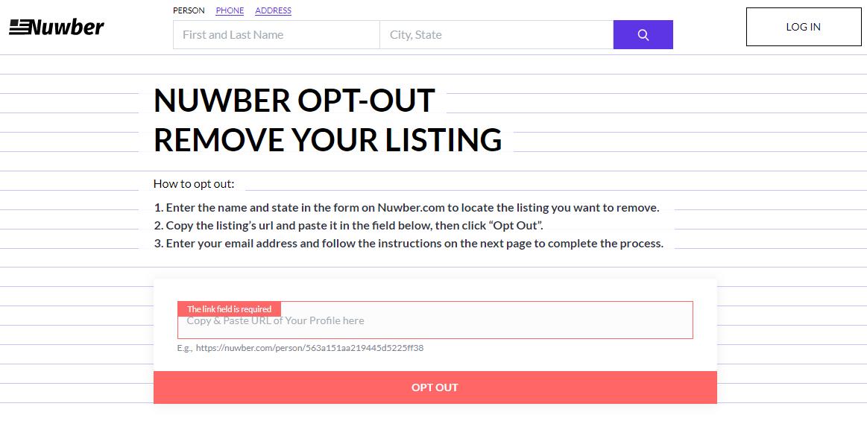 Screen shot of Nuwber's OptOut form.