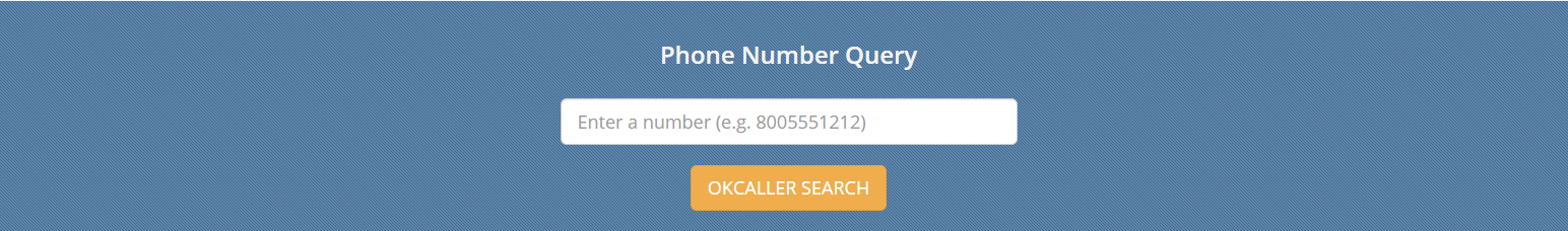Screen shot of OKCALLER's search bar.