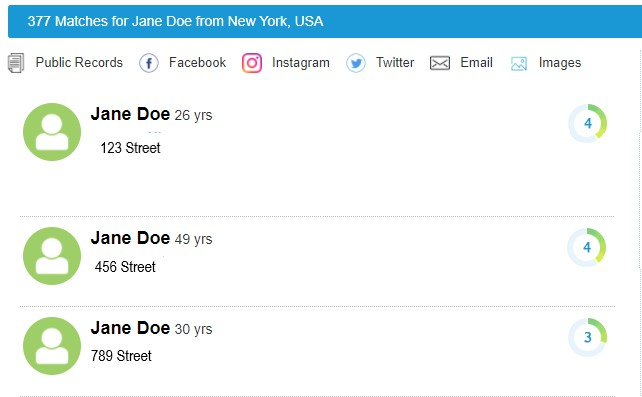 Screen shot of PeekYou's search results for Jane Doe.
