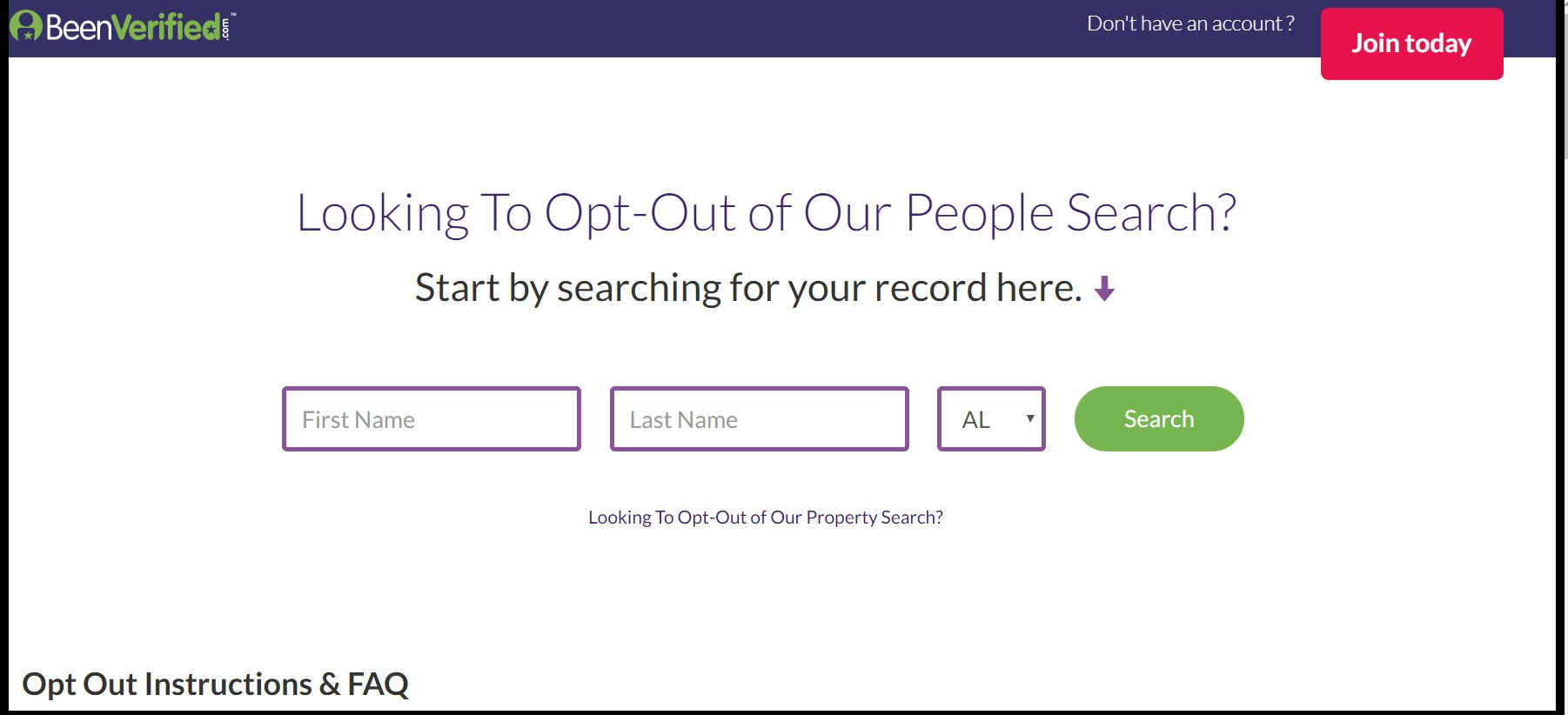 Screenshot of PeopleSmart opt-out page
