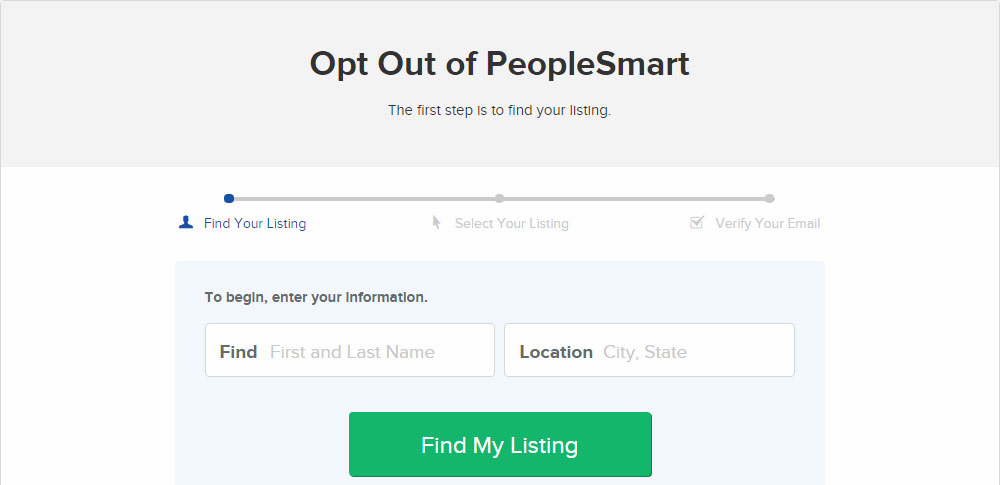 PeopleSmart opt-out tool