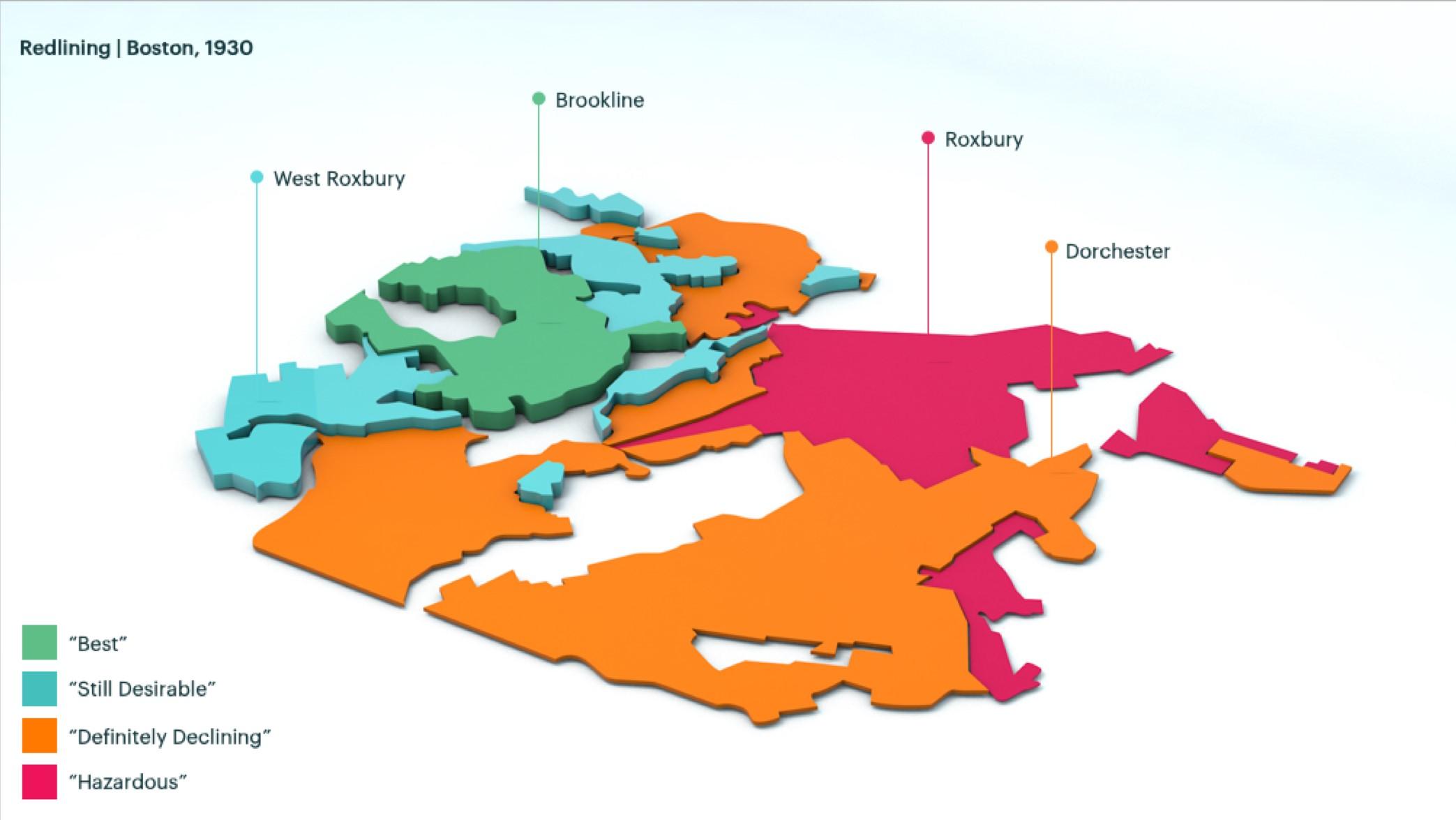 Map of Roxbury, MA, redlined in 1930.