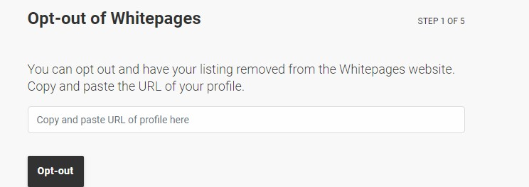 Screenshot of Whitepages opt-out page