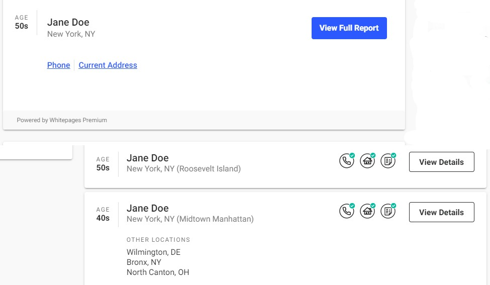 Screen shot of Whitepages sample results