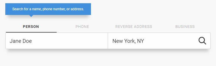 Screenshot of Whitepages search field