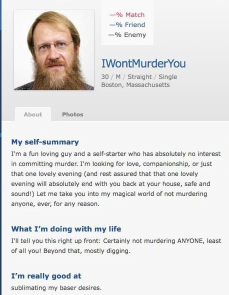 Dating profile of obvious murderer