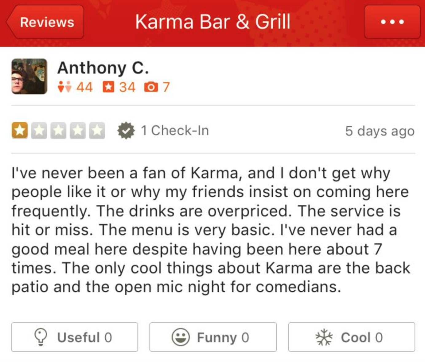 Negative review of Karma Bar and Grill