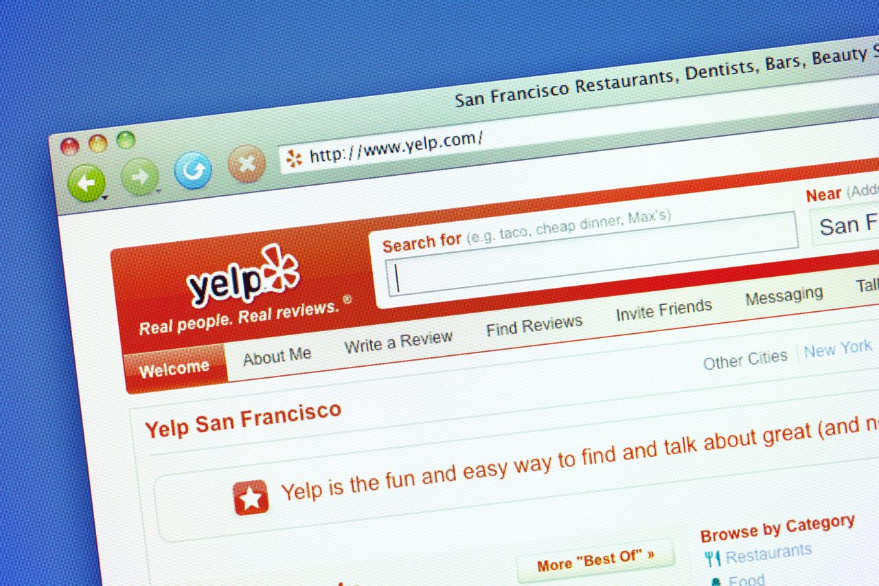 Screenshot of Yelp page