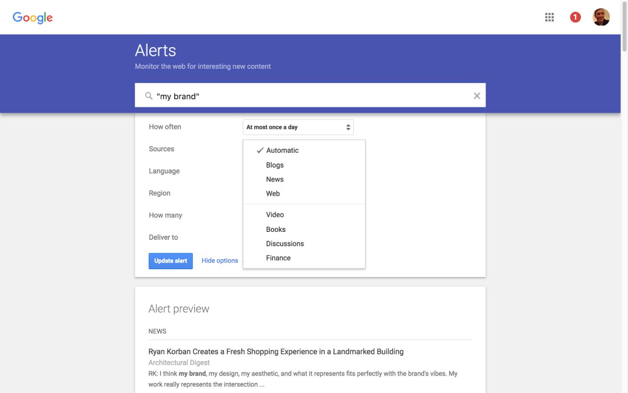 Screenshot of Google Alert page