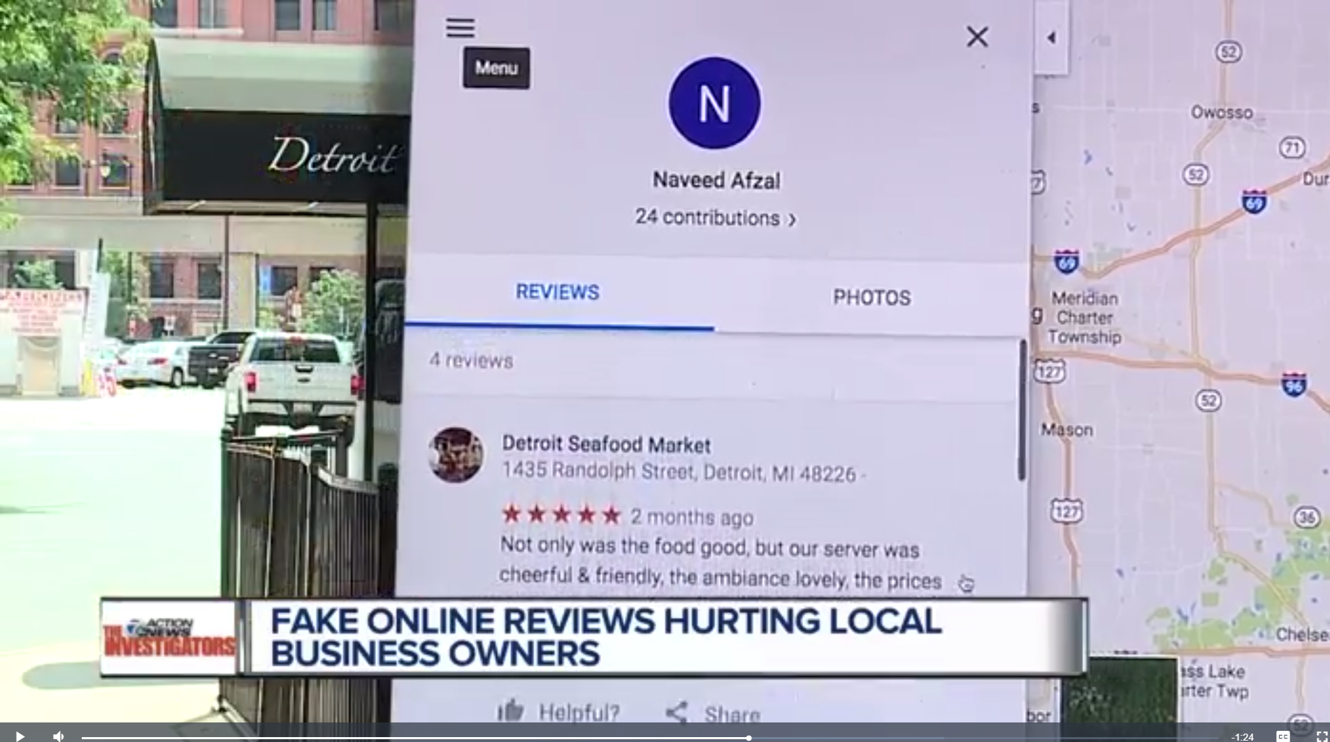 TV image of fake review