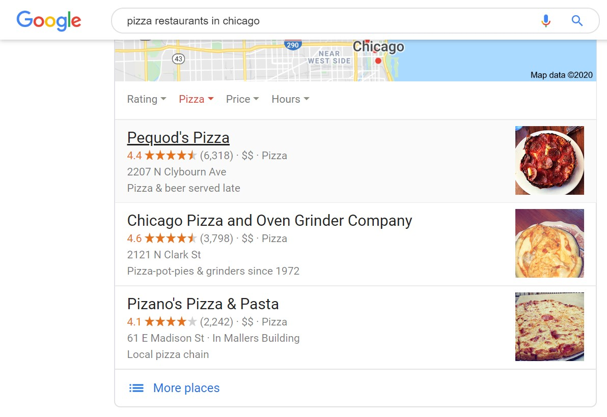 Screenshot of Google search results for Chicago pizza.