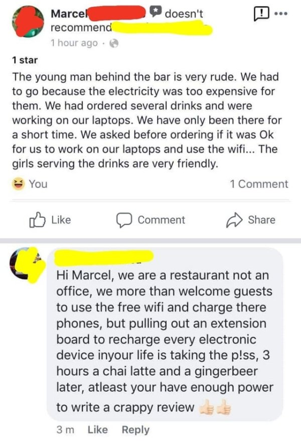 Screenshot of a restaurant owner replying in anger to a review