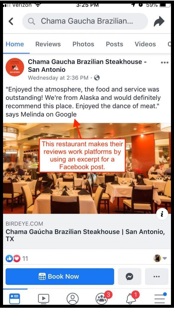 Screenshot of a restaurant sharing a good review on social media