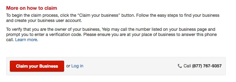 Screenshot of Yelp claim your business page