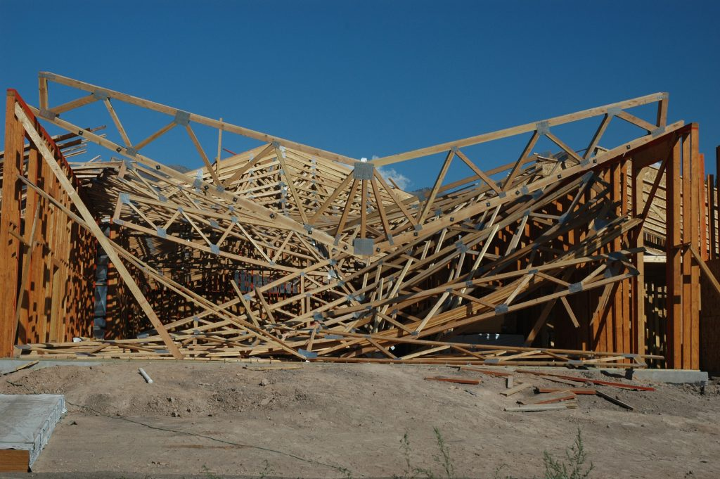 A new construction site destroyed by a wind storm