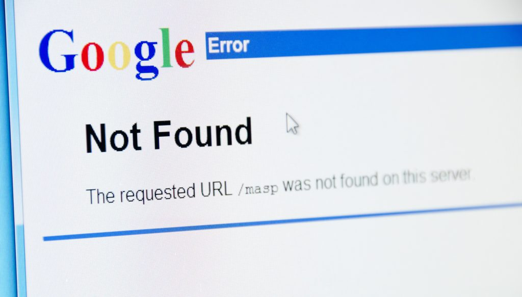 Denver USA - May 27, 2011: Official website of the  Google with its logo. Showing Error 404 - Not Found search results. Shot on a color LCD monitor