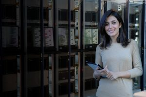 woman in a data center