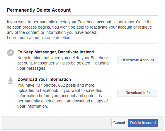 Screenshot of Facebook delete your account page.