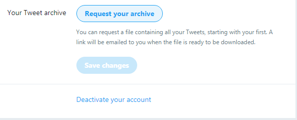 Screenshot of Twitter Delete your account page.