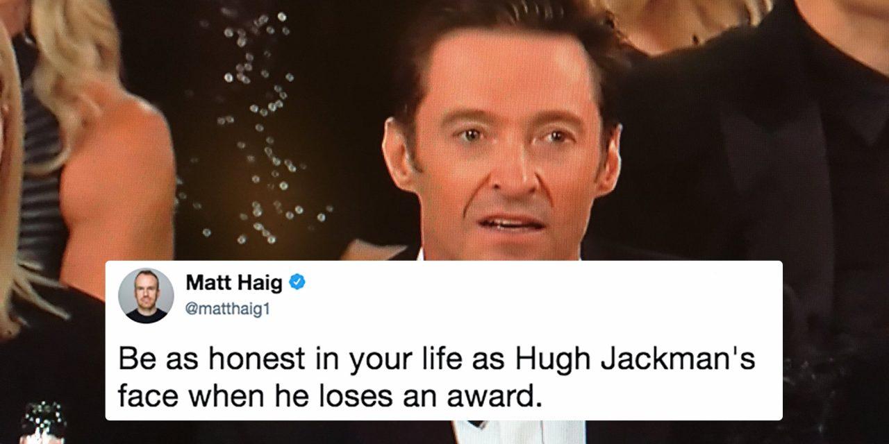 Hugh Jackman's honest face when losing an award.