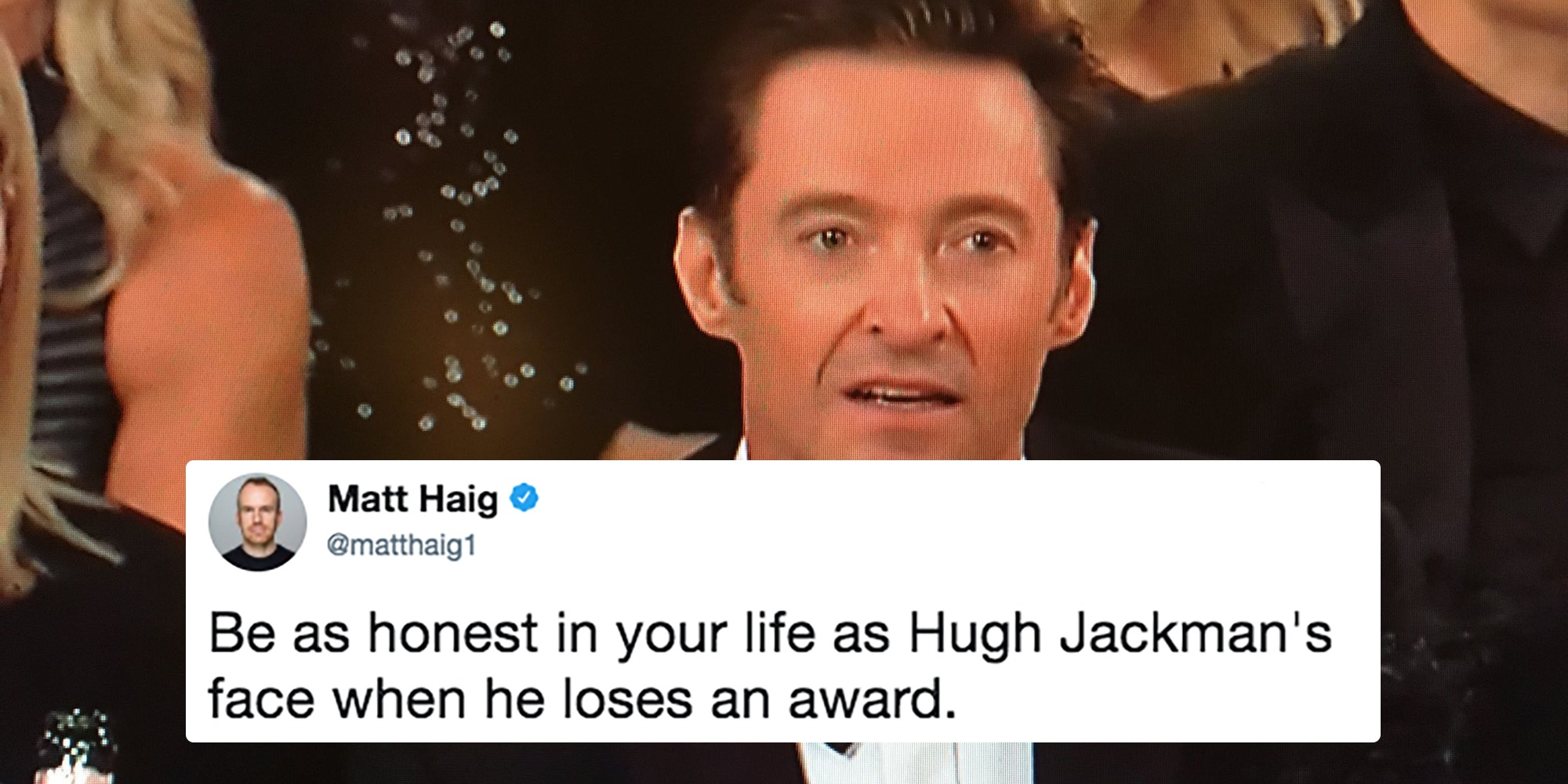 Hugh Jackman's honest face when losing an award.