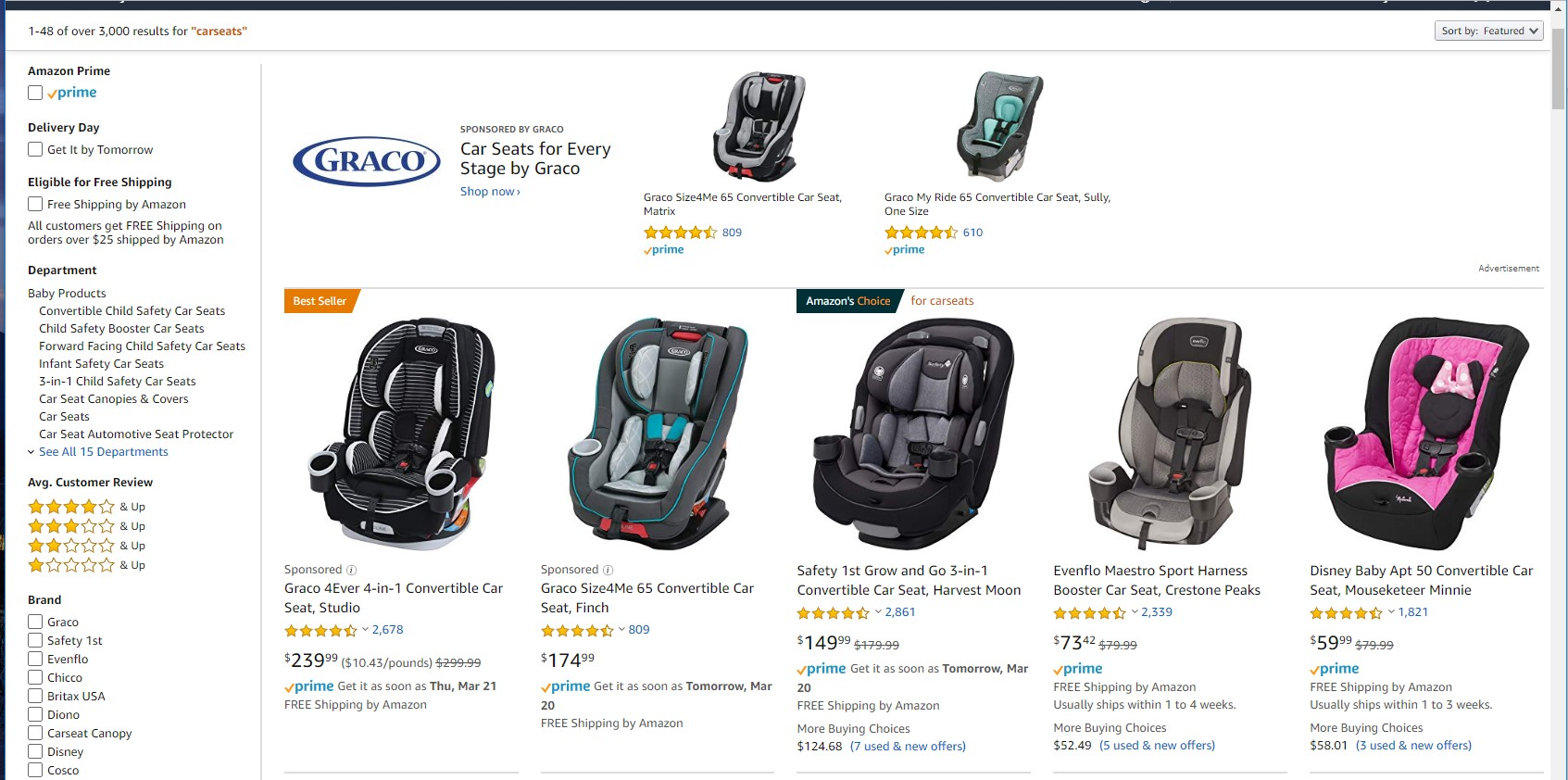 Screenshot of Amazon car seats page.