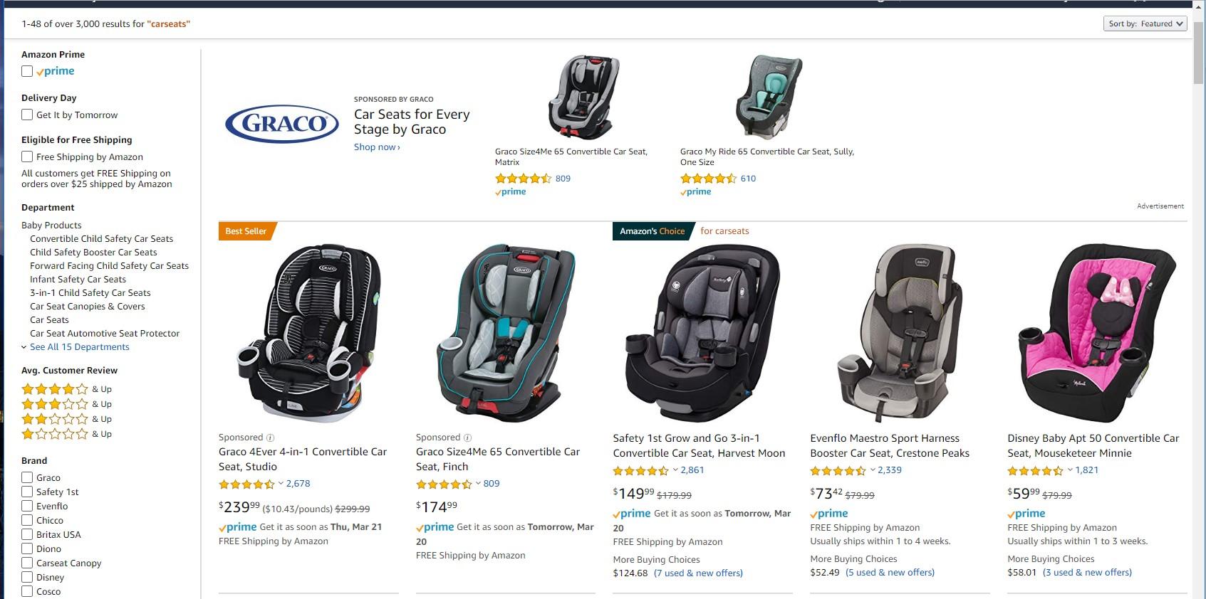 Screenshot of Amazon car seats page.