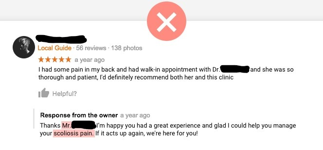 Example of a non-HIPAA-compliant response to an online review