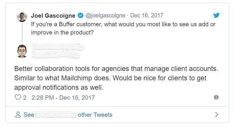 Screenshot of Buffer CEO Tweet asking an open ended question.