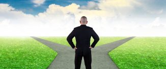 Business decision concept. Businessman confuse to choose the right direction. Future, direction development, goal, success