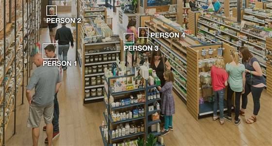 Picture of store showing Amazon's Rekognition software identifying faces.