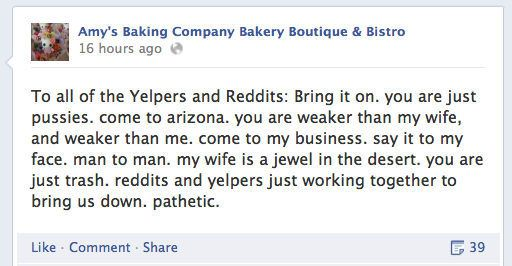 Screenshot of Amys Baking Co. attacking Yelpers on social media.