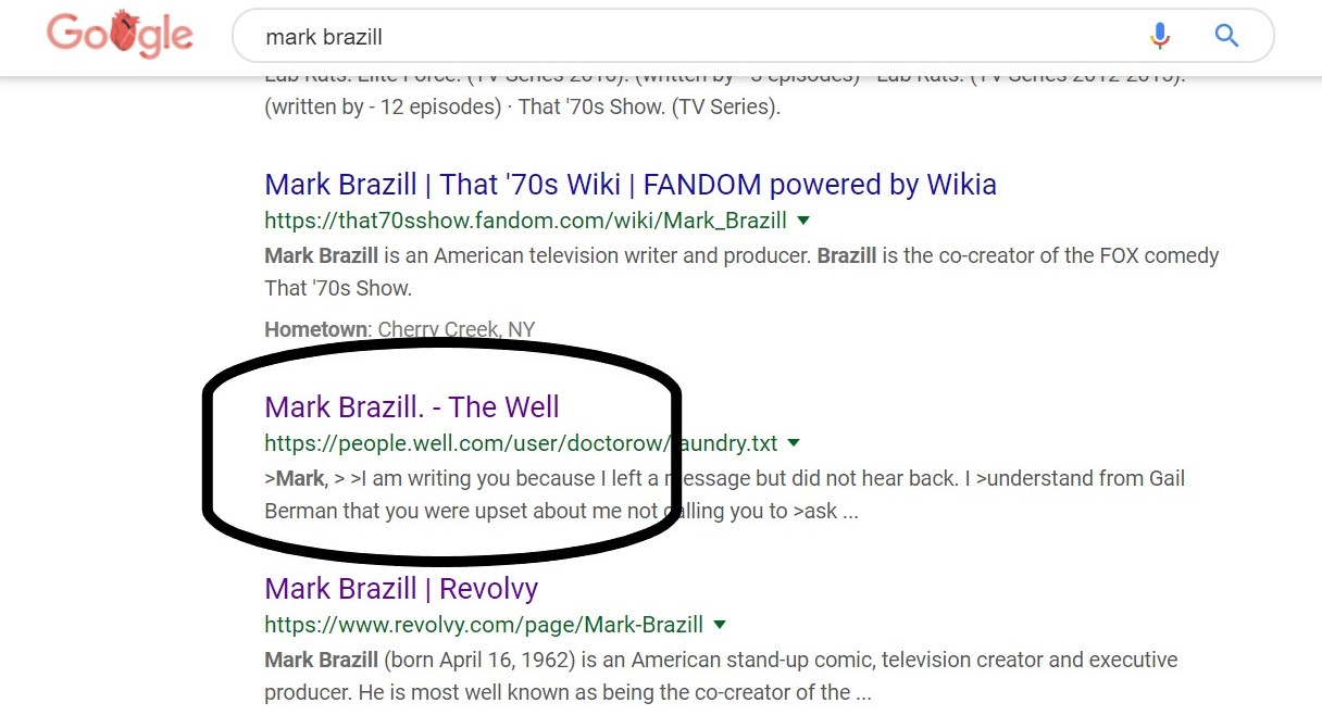 Screenshot of Mark Brazill search results.
