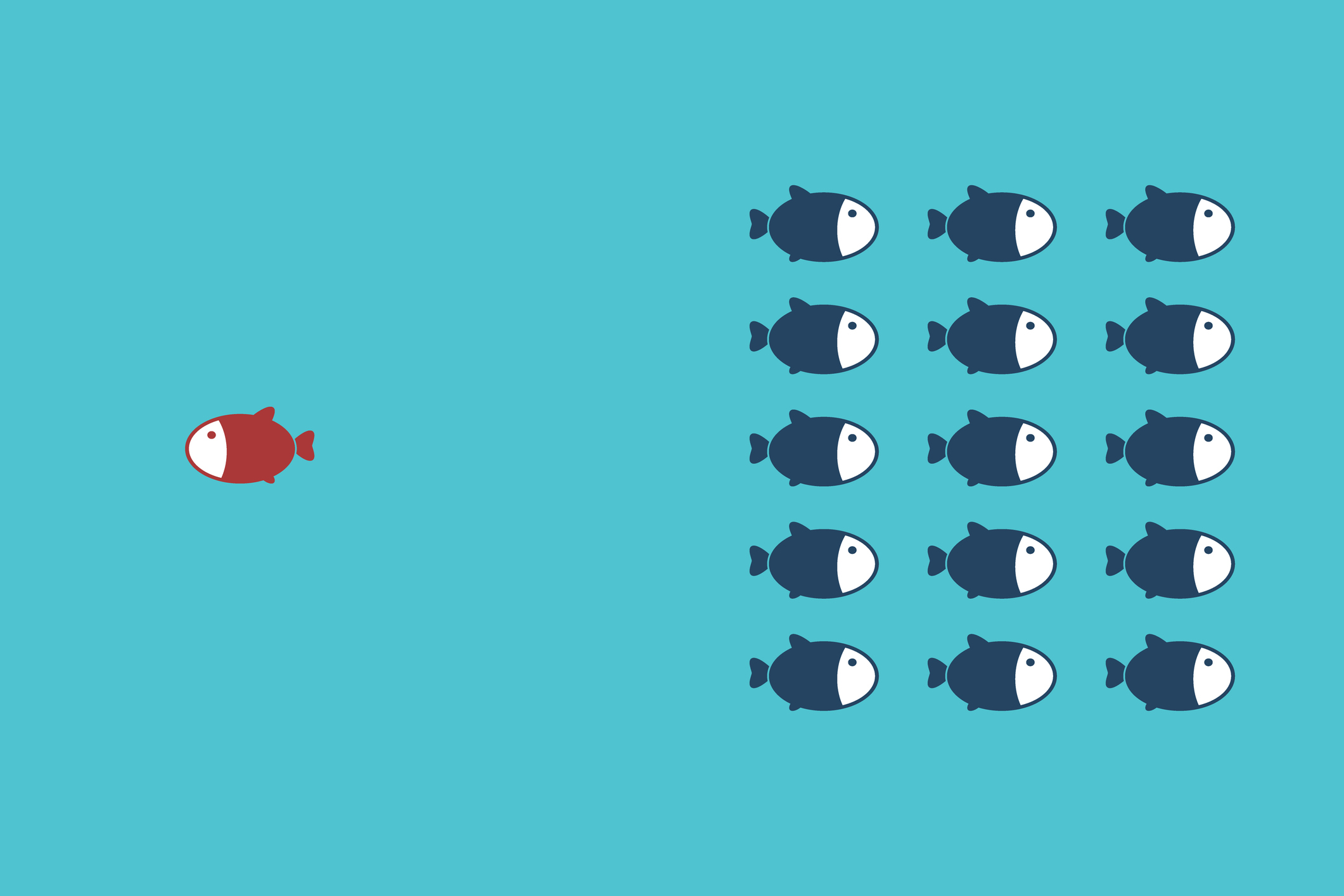 Think differently - Being different, standing out from the crowd -The graphic of fish also represents the concept of individuality , confidence, uniqueness, innovation, creativity.