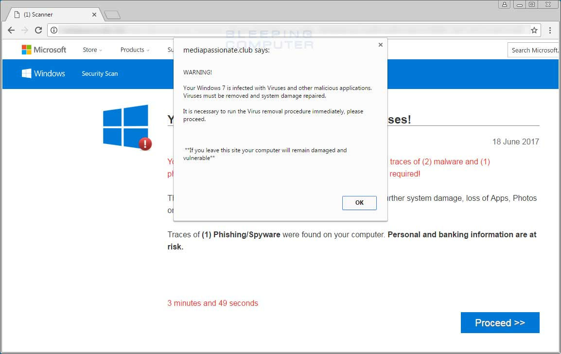 Screenshot of popup scareware.