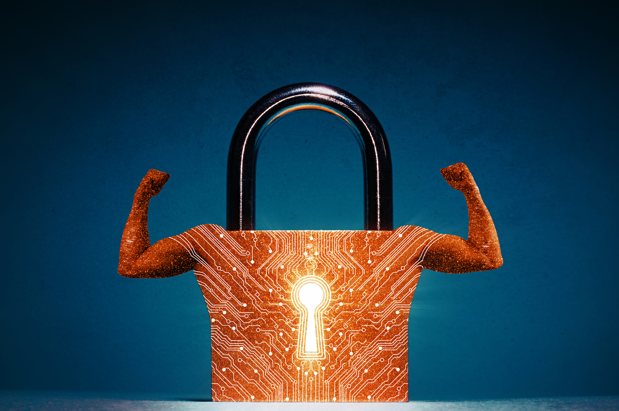 Picture of a padlock with strong arms